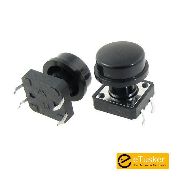 Etusker.com 4Pin Tact Switch 12mm x 12mm + Oval Cap (E-Switch TL1100F160Q8JBLK) - THR
