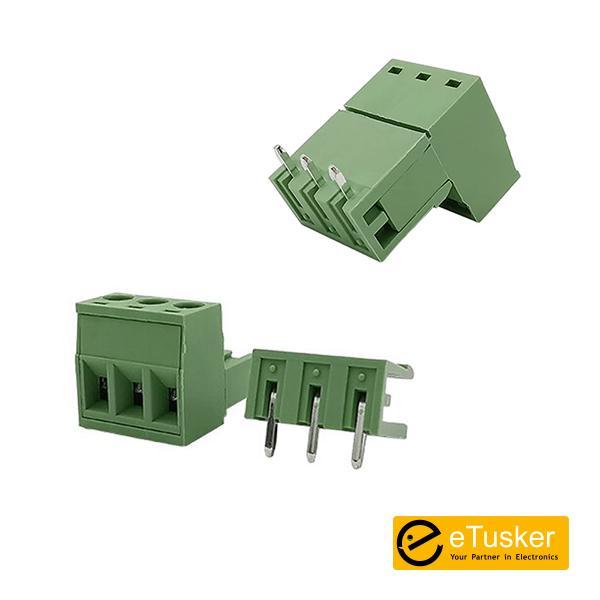 3Pin Connector RA + Screw P5.08mm (Green) - THR