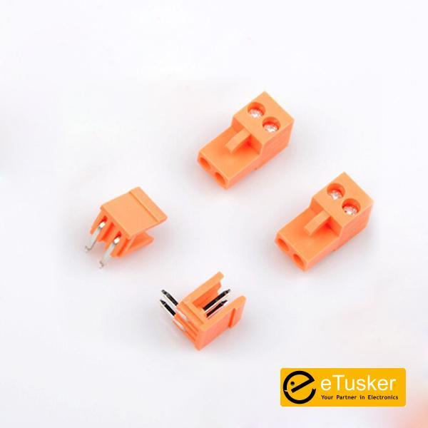 Orange 2pin RA Connector + Screw P3.96mm - THR (HT396K-HT396)