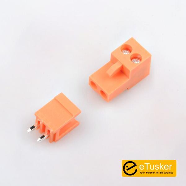 Orange 2pin Straight Connector + Screw P3.96mm - THR (HT396K-HT396)