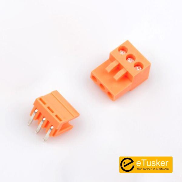 Orange 3pin RA Connector + Screw P3.96mm - THR (HT396K-HT396)