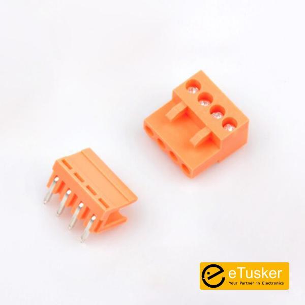 Orange 4pin RA Connector + Screw P3.96mm - THR (HT396K-HT396)