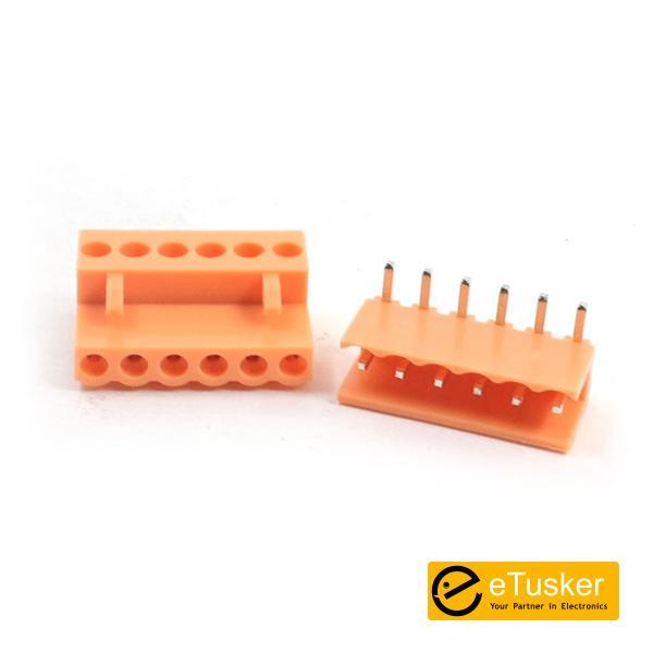 Orange 6pin RA Connector + Screw P3.96mm - THR (HT396K-HT396)