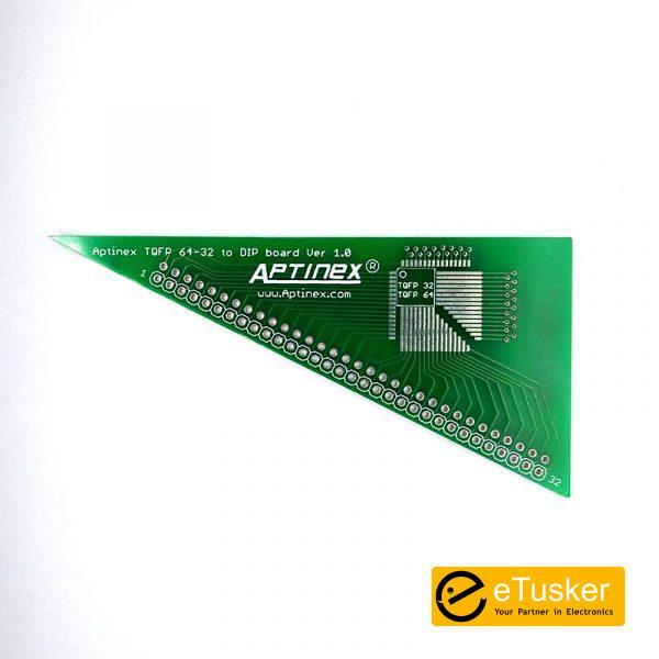 Aptinex TQFP 64, 32, pin to DIP Adapter